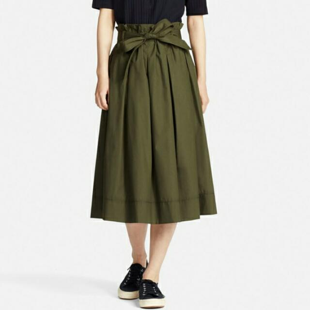Uniqlo High Waist Belted Flare Midi Skirt Green Size M Womenu0026#39;s Fashion Clothes Pants Jeans ...
