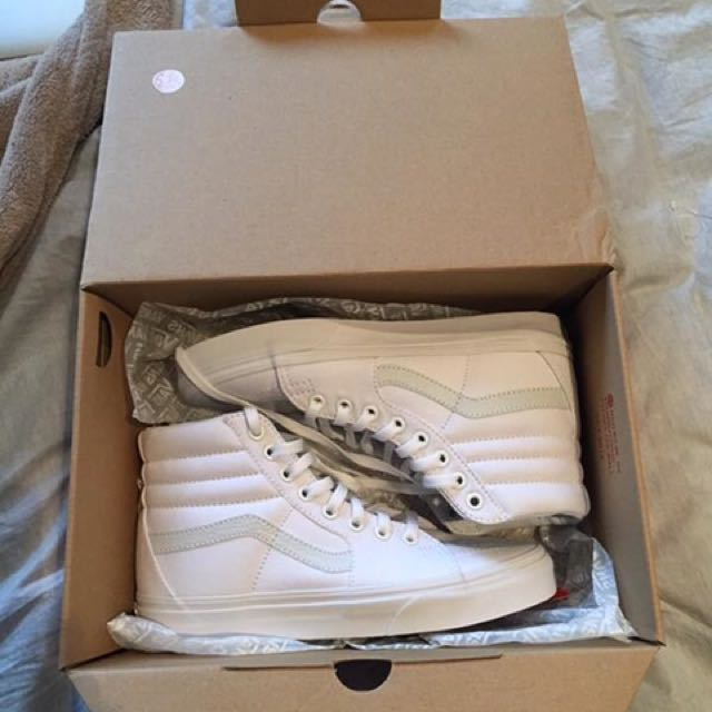 Vans White Leather High Tops