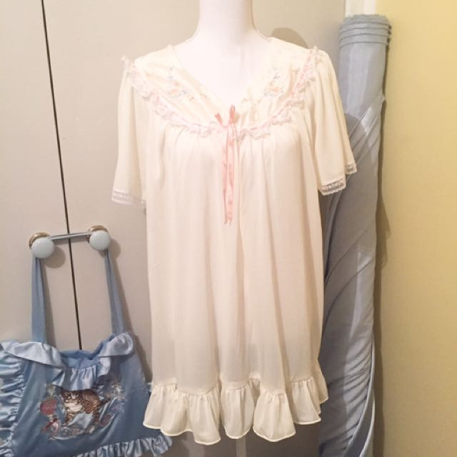Vintage Ivory Mini Ruffle Embroidered Floral Pastel Dress