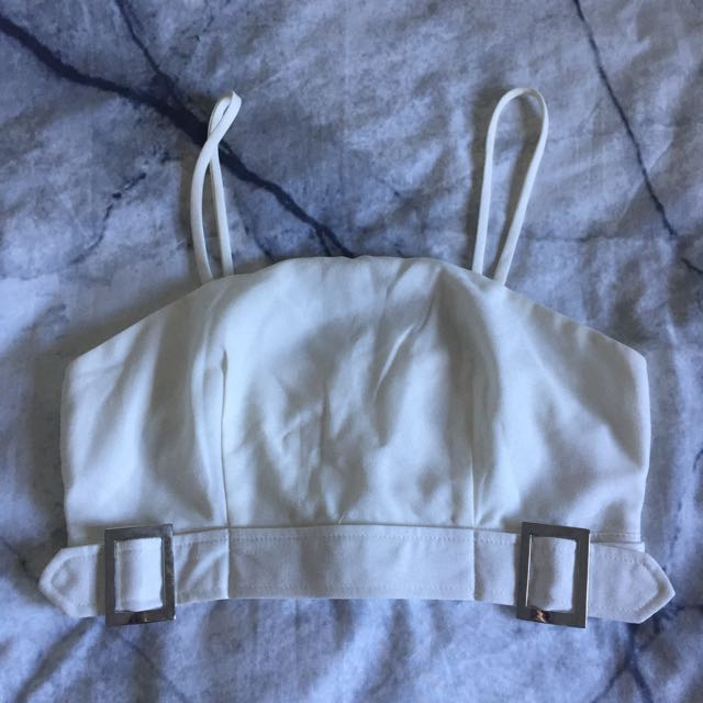 White Crop with Adjustable Buckles