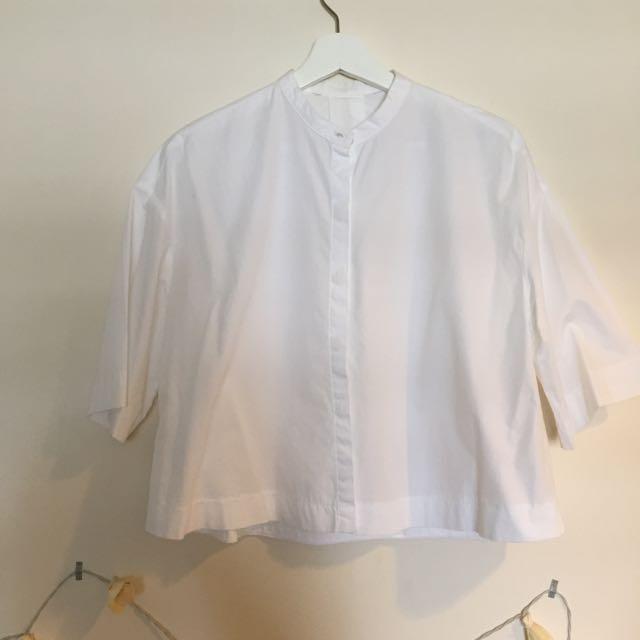 ZARA 短版散狀五分袖襯衫