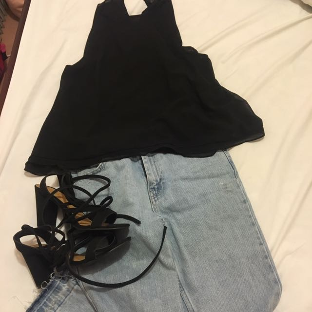 Zara Black Basic Top