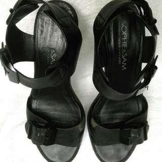 黑色涼鞋 透明跟 38