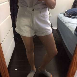 White Denim Mom Shorts