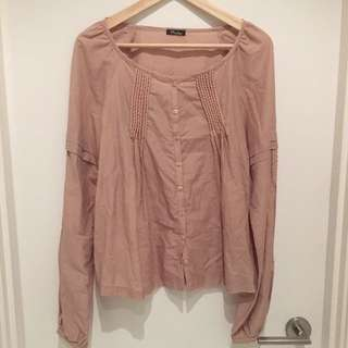 Nude Puffy Sleeve Blouse/ Never Used