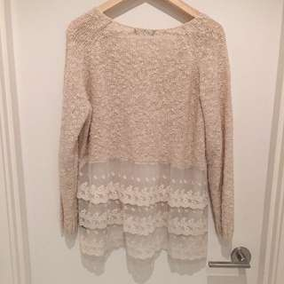 Lace Back Sweater/ Used Once