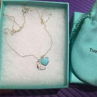 Tiffany&Co Tiffany 經典項鍊 Mini 雙愛心 琺瑯綠 限量 項鍊