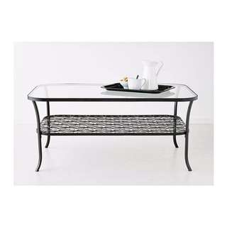 KLINGSBO Coffee table, black, clear glass from Ikea