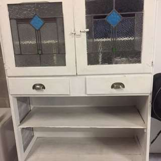 Vintage White Cupboard With Leadlight