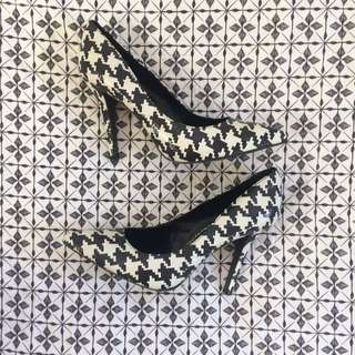 Charles & Keith Dogtooth Black & White Pointed Heels