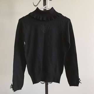 Super Soft Frill Turtle Neck See Through Heart Knit Top