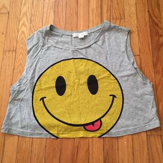 Forever 21 Smiley Emoji Crop Shirt
