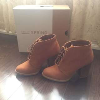 Spring: Brown Suede Ankle Boots