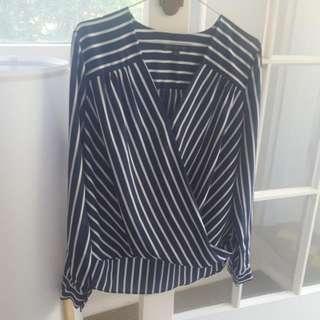 Forever New Size 10 Stripe Blue Blouse