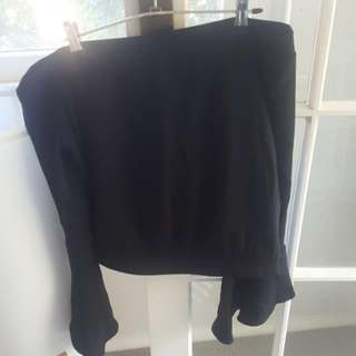 Bardot Black Off Shoulder Top With Flare Sleeves New Size 10