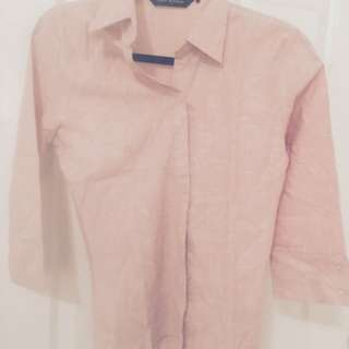 Pink Linen Small Size Office Shirt From United Colours Of Benetton Brand