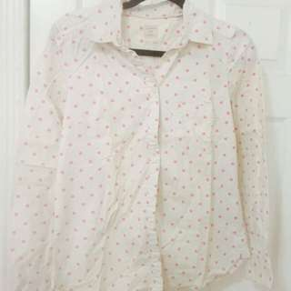 White Shirt With Pink Polka Dots From GAP Brand