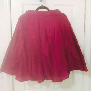 Wine Coloured Midi Skater Skirt