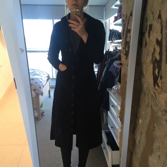 1003 Full Length Black Duster Coat