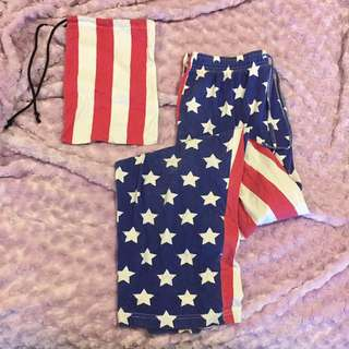 Pulp Kitchen Unisex American Flag Pj Pants With Bag