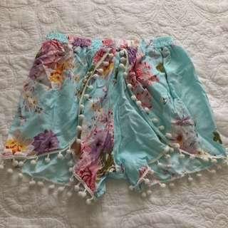 Light-Weight Floral Pom Pom Shorts