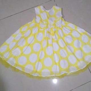 GEORGE UK Yellow Polkadot Dress 9-12 M
