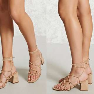 Forever 21 Suede Lace Up Block Heel
