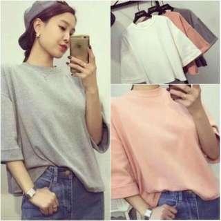 韓版七分袖短袖粉色