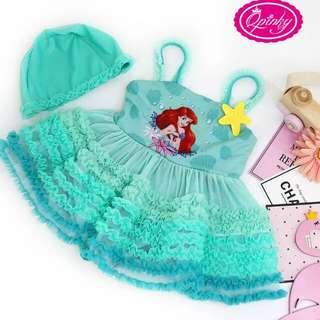 外貿原單新款迪士尼公主群防紫外線女童裙式游泳衣
