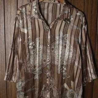 超美古著圖騰印花條紋寬鬆襯衫