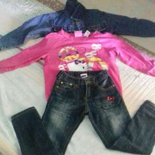 Maong Jacket,Hello Kitty Pants  & Hello Kitty Longsleve(Take All)