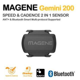 100%NEW 新款 無線 Magene gemini 210 速度& 踏頻 Speed & Cadence ANT+ Bluetooth sensor(Garmin、手機都用得)