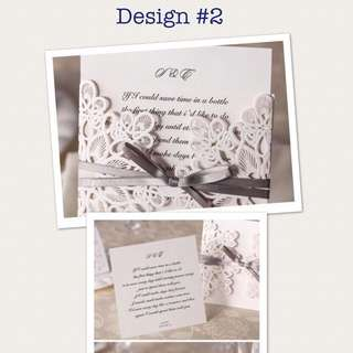 Wedding Invitation Square Size (with Gray Ribbon)