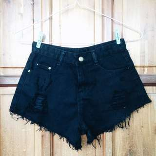 Black High-Waisted Ripped Shorts