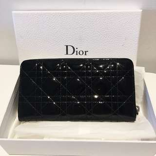 Dior Cannage Patent Leather Zip-Around Wallet