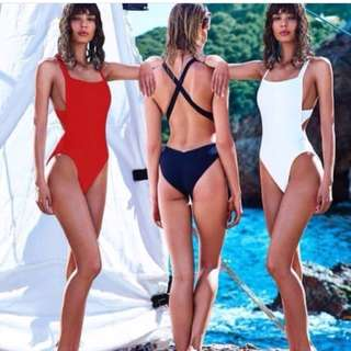 One piece backless cross strap swimsuit