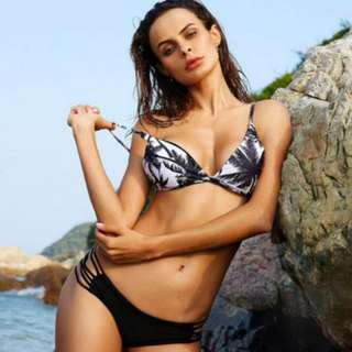 Tropical in black and white 2pc swim suit