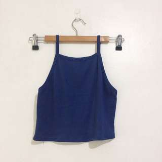Blue Halter Crop Top