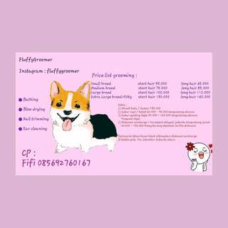 grooming anjing (new price list)