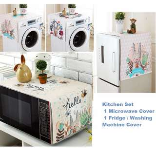 Kitchen Cover Set - Bunny Theme ( Microwave Cover , Fridge / Washing Machine Cover)