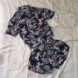 REPRICED! Floral top and short set.