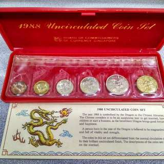 Singapore 1988 Year Of The Dragon Uncirculated Coin Set