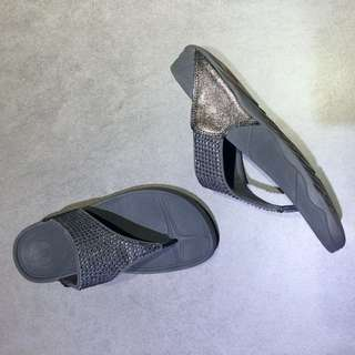 Fitflop 灰 鑽 拖鞋 37號
