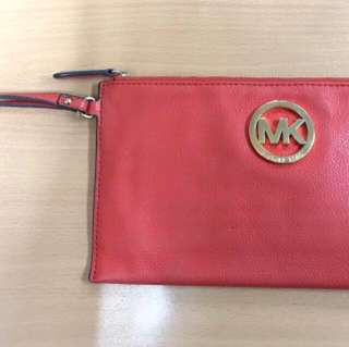 Michael Kors Pebbled Leather Fulton Large Zip Wristlet In Orange