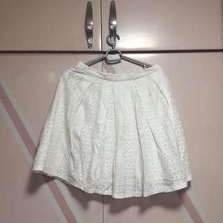 F21 White lace A-line Pleated Skirt