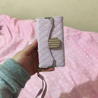 Wallet iPhone 5S Case Pink Quilted