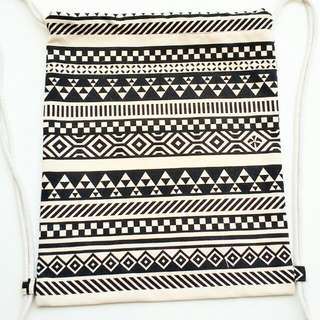 String Bag Drawstring Bag Canvas Aztec Black And White