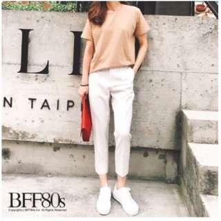 白色細線小衩西裝褲