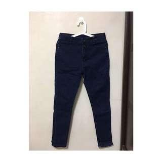 🚚 深藍高腰兩釦牛仔長褲