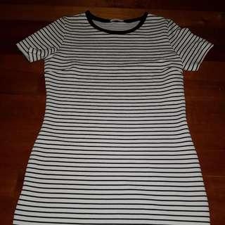 Stripe Dress Above the Knee Length